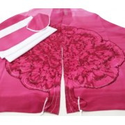 Galilee Silks Bright Pink Tree Tallit Prayer Shawl