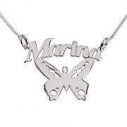 A Brilliant and Unique Silver Butterfly with Name Necklace