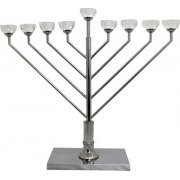 Chabbad Hanukkah Menorah with Crystal Cup Candles