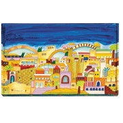 Challah Board Hand Painted Jerusalem Motif on Wood by Yair Emanuel