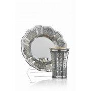 Chatan Set Kiddush Cup & Saucer - Hexagon Bottom Toscana Panels - Hadad Sterling Silver