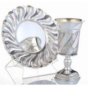 Chatan Set Kiddush Goblet & Saucer - Toscana Panel Swirls - Sterling Silver