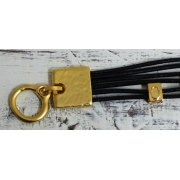 Chic Black Leather Bracelet with Five Gold Luck Pendants