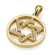 Circlet Framed Woven Star of David Necklace 18K Gold with Tiny Diamonds