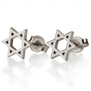 Classic 14K White Gold Star of David Stud Earrings