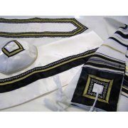 Classic Black and Gold,  Wool Tallit Prayer Shawl