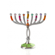 Colorful Twist Hanukkah Menorah with Polka Dots and Dreidel