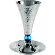Cone Shaped Alluminum Kiddush Cup and Plate with Turquoise Bead Stem
