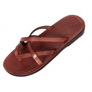 Criss-Cross Biblical Leather Flip-Flop Sandal - Carmel