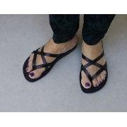 Criss-Cross Biblical Handmade Leather Flip-Flop Sandal - Carmel