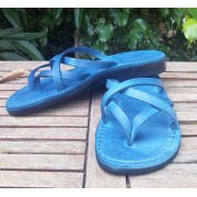 Leather Flip-Flop Sandal Carmel Blue