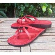 Leather Flip-Flop Sandal Carmel Red
