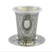 Crosshatch Kiddush Cup with Grapes around Ornament