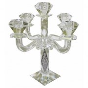Crystal 5 branch Elegant Candelabra with Jerusalem