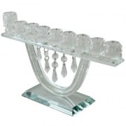 Crystal Chandelier Hanukkah Menorah with Crystal Chips