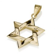 Curvy 14K Gold Woven Star of David Pendant