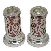 Cut Out Flower Motif Over Red Shabbat Candlesticks