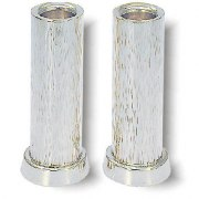 Cylinder Shaped Line Hammered Sterling Silver Shabbat Candlesticks