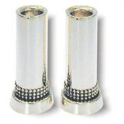 Cylinder Shaped Pearl Rows Sterling Silver Shabbat Candlesticks