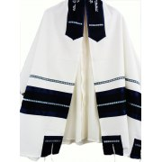 Dark Blue on White Viscosa Tallit Prayer Shawl
