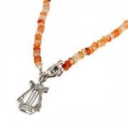 David's Harp Carnelian Necklace, Jewish Jewelry