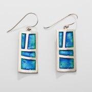 Dazzling Silver & Enamel Green-Blue  Mosaic Design Earrings