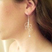 Delicate Branch Earrings in Silver - Shlomit Ofir Jewelry