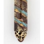 Diagonal Blue Patina, Brass Mezuzah Case