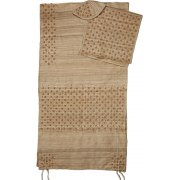 Dotted Striped and Flowers Brown Silk Rikmat Elimelech Tallit