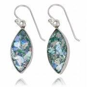 Silver Drop Earrings with Roman Glass