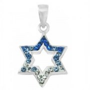 Silver & Crystals Modern Star of David Necklace