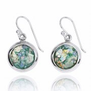 Silver Round Earrings with Roman Glass