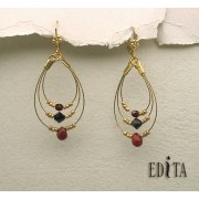 Edita - Ecstasy - Ruby Red -  Handcrafted Israeli Earrings