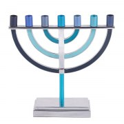 Emanuel Judaica Blue Seven Branched Menorah Big