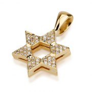 Elegant 18K Gold and Diamonds, Star of David Necklace