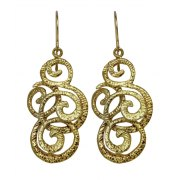 Elegant Gold Ornament Earrings, Israeli Jewelry