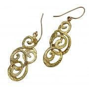 Elegant Gold Ornament Earrings, Israeli Jewelry