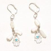 Elegant Pearl Shell Hamsa Earrings