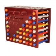 Menorah and Candle Holder- Maroon Red
