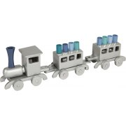 Emanuel Blue Train Hanukkah Menorah Anodized Aluminum
