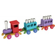 Emanuel Colorful Train Hanukkah Menorah Anodized Aluminum