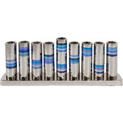 Emanuel Hammered Tubes Blue Stripes Hanukkah Menorah