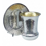 Sterling Silver Hammered Kiddush Cup Flat Bottom Wide Rim