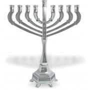 Filigree Hanukkah Menorah with Extended Branches and Clear Stones