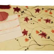 Galilee Silks Floral Cream Colored Tallit Prayer Shawl