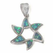 Flower Shape Star of David Necklace, Silver & Opal