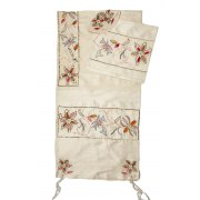 Flowers on Beige Silk Rikmat Elimelech Tallit Prayer Shawl