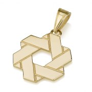 Folded Ribbon Star of David Necklace 14K Gold Pendant