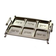 Passover Seder Plate, Footed Rectangular, Nickel