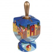 FREE Ceramic Chanukah Dreidel with Stand: Flowers, Yair Emanuel